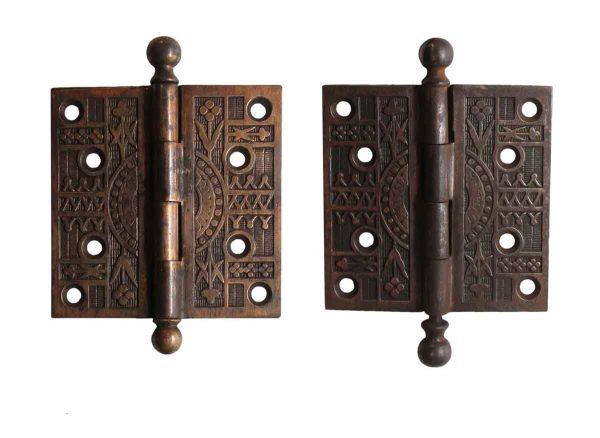 Door Hinges - Pair of Aesthetic Brass Plated Ball Tip 4 x 4 Butt Door Hinges