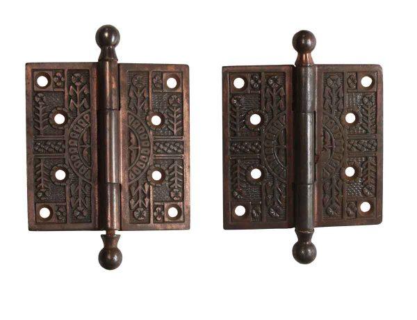 Door Hinges - Pair of Aesthetic Steel 4 x 4 Ball Tip Butt Door Hinges