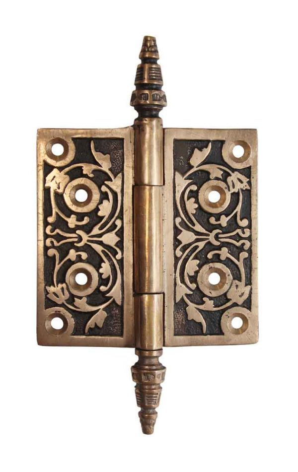 Door Hinges - Victorian Brass 4 x 4 Steeple Tip Butt Door Hinge