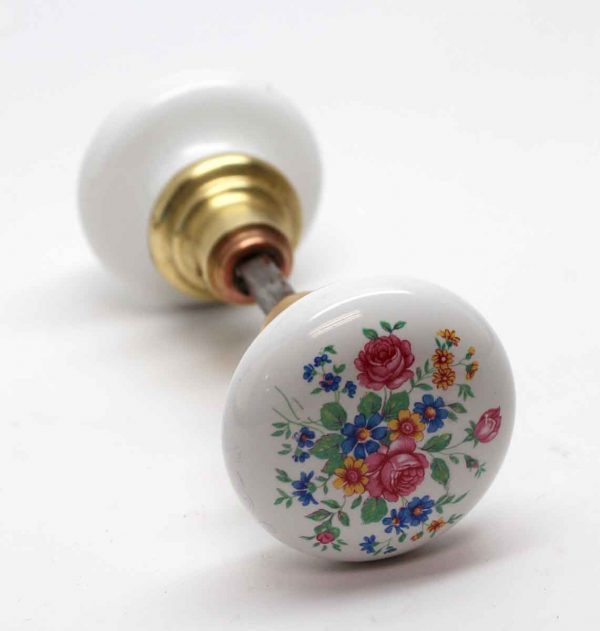 Door Knobs - Pair of White Porcelain Floral Door Knobs