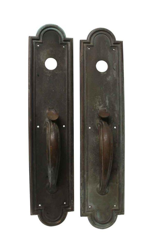 Door Pulls - Pair of Yale & Towne Large Art Deco Bronze Door Pulls