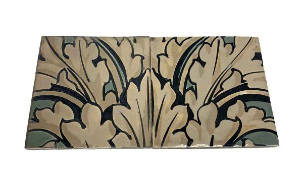 Floor Tiles - Pair of Decorative Leaf Floor Tiles