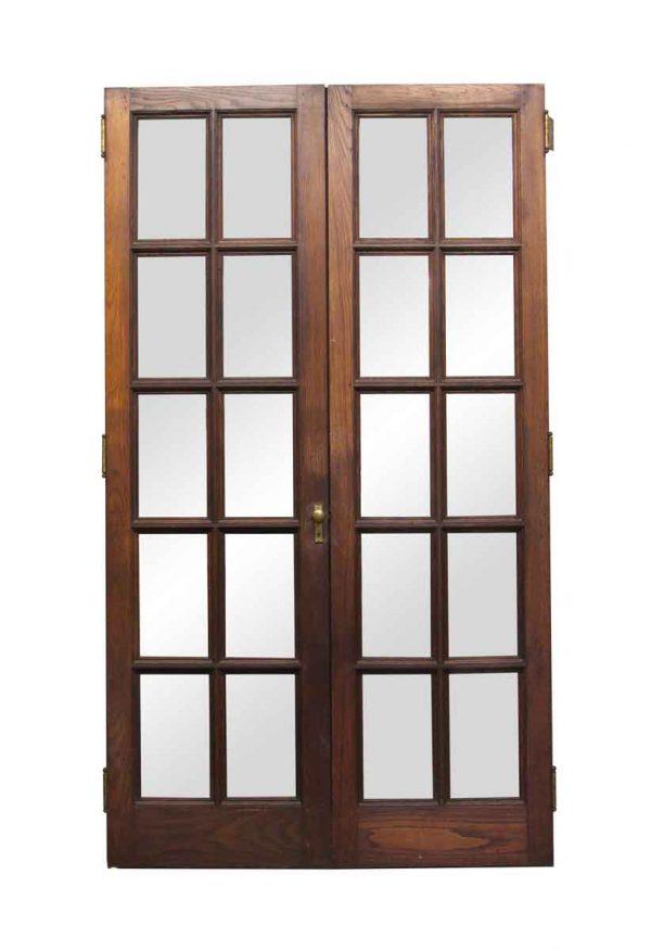 French Doors - Pair of 10 Glass Pane Chestnut Doors