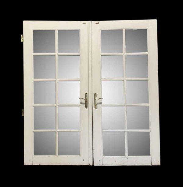 French Doors - Pair of 10 Glass Pane White Wooden Laminated Doors