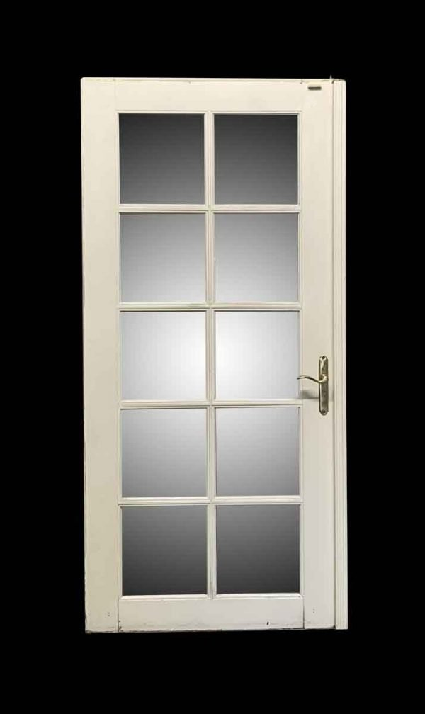 French Doors - Single Wooden White 10 Glass Pane Door