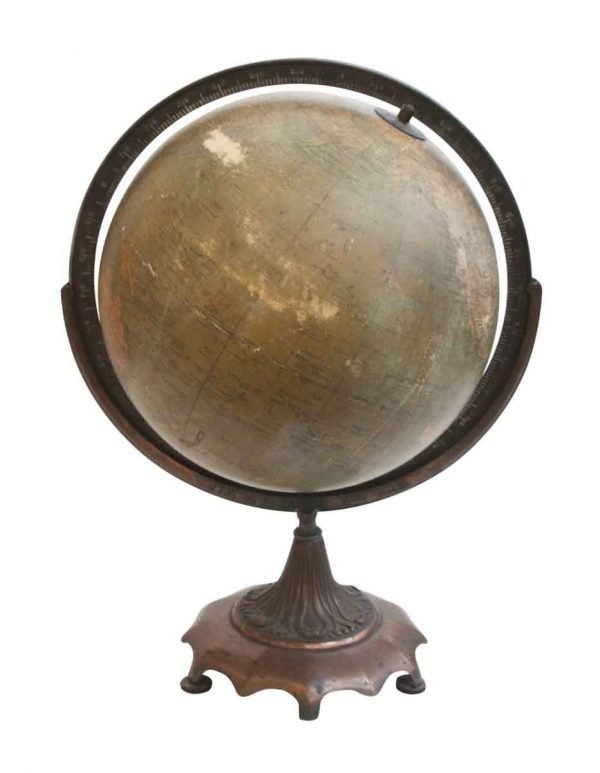 Globes & Maps - Old 12 in. Weber Globe on Ornate Bronze Stand