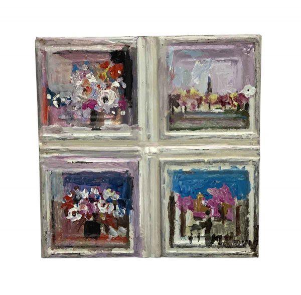 Hand Painted Panels - Floral Still Life Quadrant Novak Tin Panel