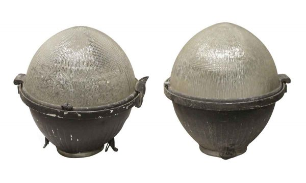 Industrial & Commercial - Circa 1930 Pair of Holophane & Aluminum Street Light Globes
