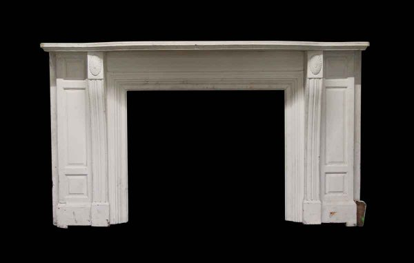 Mantels - White Painted Wooden Antique Mantel