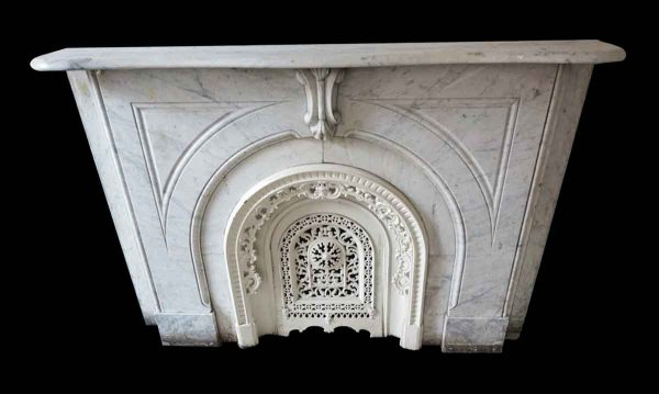 Marble Mantel - New York Brownstone Carved White Carrara Marble Mantel