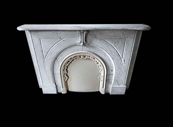 Marble Mantel - New York Brownstone White Carrara Marble Mantel