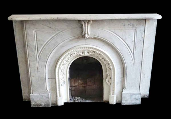 Marble Mantel - White & Gray New York Brownstone Carrara Marble Mantel