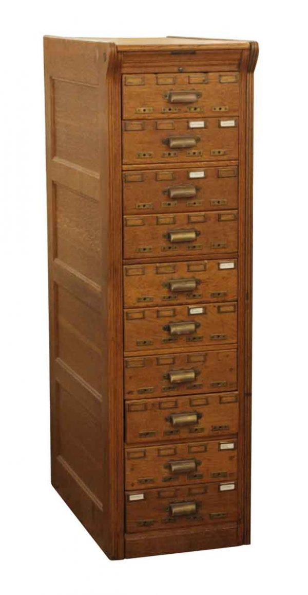 Office Furniture - Yawman & Erbe Oak Card Catalogue with 10 Drawers & Brass Hardware