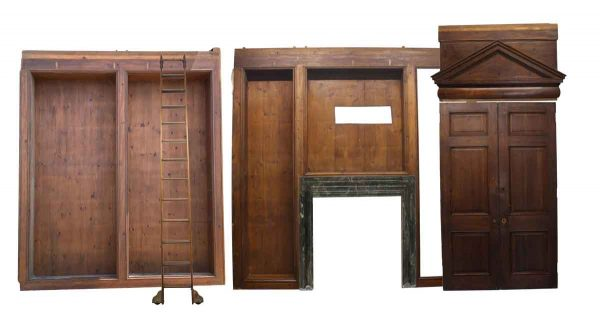 Paneled Rooms & Wainscoting - Ceiling Height Knotty Pine Library Room with Ladder