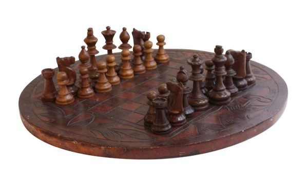 Sporting Goods - Round Hand Carved Wooden Chess Set