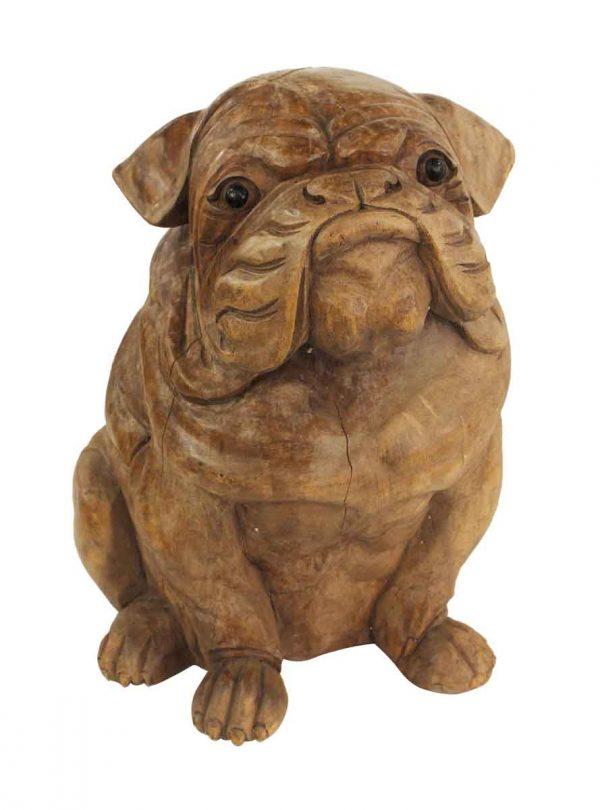 Statues & Sculptures - Wooden Bulldog Figure