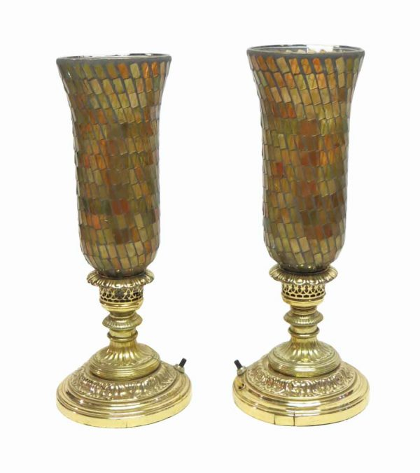 Table Lamps - Pair of Hurricane Lamps with Opalescent Colored Glass Shades