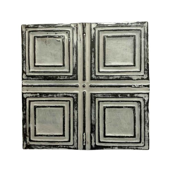 Tin Panels - Antique White 4 Fold Squares Tin Panel