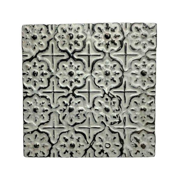 Tin Panels - Off White Floral Grid Tin Panel
