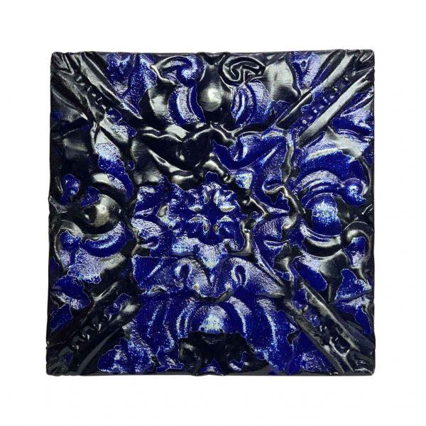 Tin Panels - Royal Blue Shellac Center Flower Tin Panel