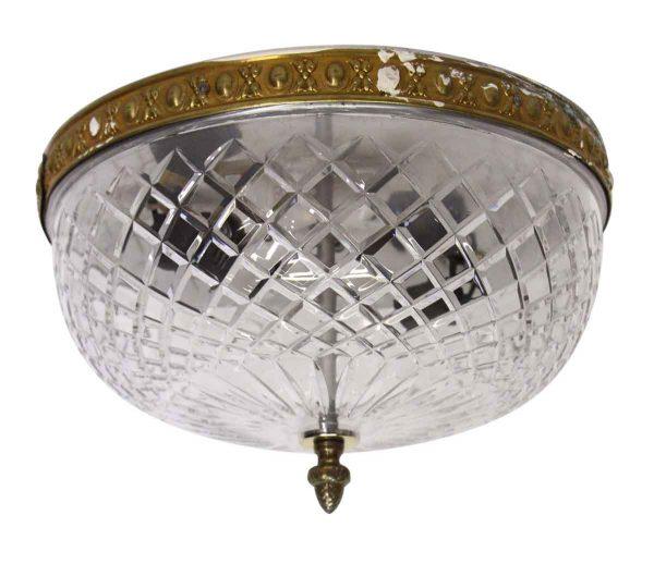 Waldorf Astoria - Large Cut Crystal Flush Mount Light with Brass Rim