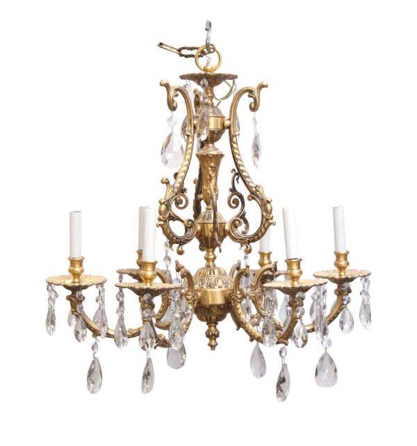 Waldorf Astoria - Ornate Waldorf Astoria Gilt Brass Chandelier with Crystals
