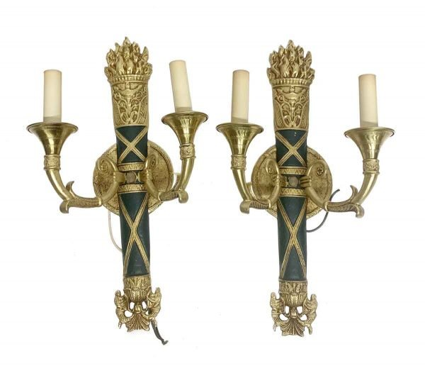 Waldorf Astoria - Pair of Brass Waldorf Astoria Empire Horn & Torche Sconces
