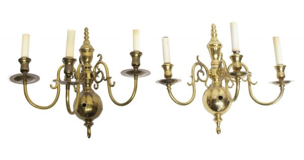 Waldorf Astoria - Pair of Waldorf Brass Colonial Style Sconces