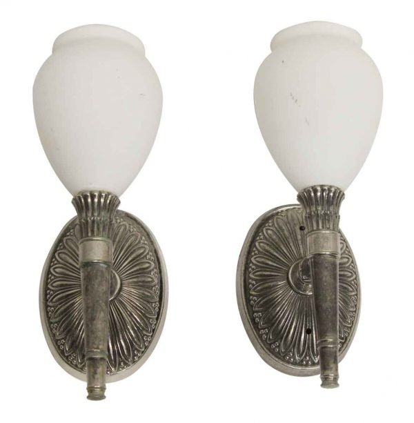 Waldorf Astoria - Silver Plated Brass Waldorf Sconces with White Glass Shades