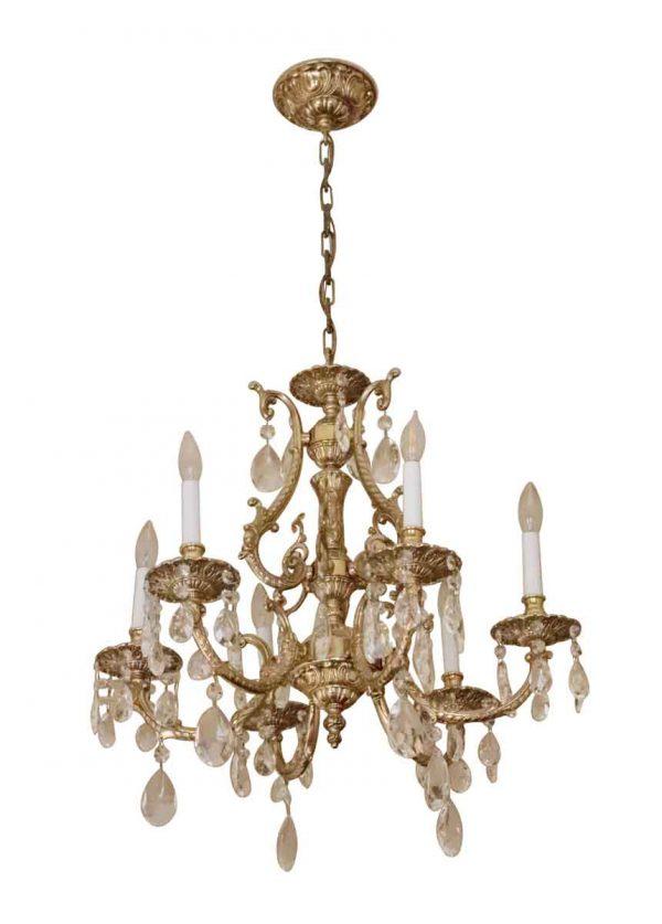 Waldorf Astoria - Waldorf Astoria Ornate Gilded Brass & Crystal Six Arm Chandelier