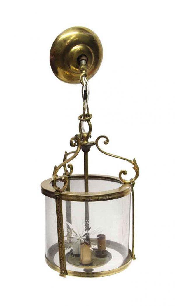 Waldorf Astoria - Waldorf Brass Cylinder Lantern with Etched Glass
