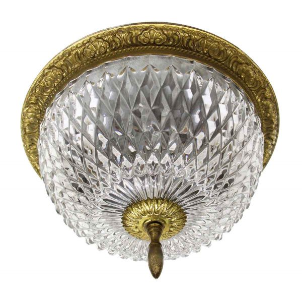 Waldorf Astoria - Waldorf Cut Crystal Flush Mount Fixture with Heavy Brass Ornate Fitter