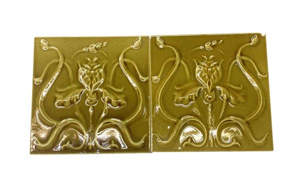 Wall Tiles - Pair of Mustard Yellow Art Nouveau 6 x 6 Tiles