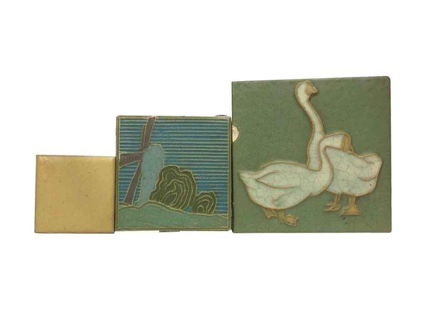 Wall Tiles - Rare Rockwood Scenic & Figural Tile Set