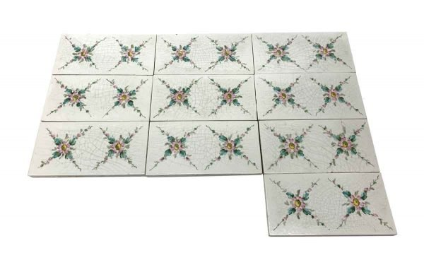 Wall Tiles - White Subway Tiles with Painted Floral Detail