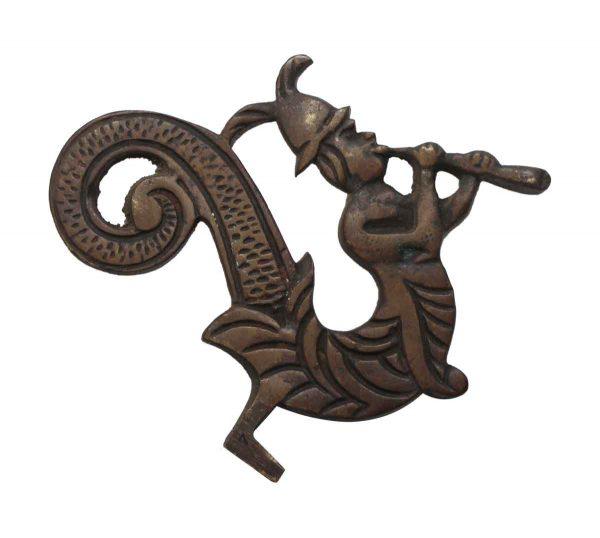 Applique - Double Sided Bronze Figural Merman Applique