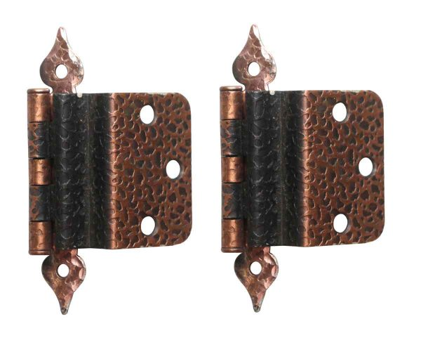 Cabinet & Furniture Hinges - Pair of Copper Plated Hammered Arts & Crafts Hinges
