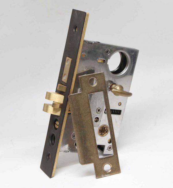 Cabinet & Furniture Hinges - Steel & Brass Mortise Lock Set with Strike Plate & Turn Key