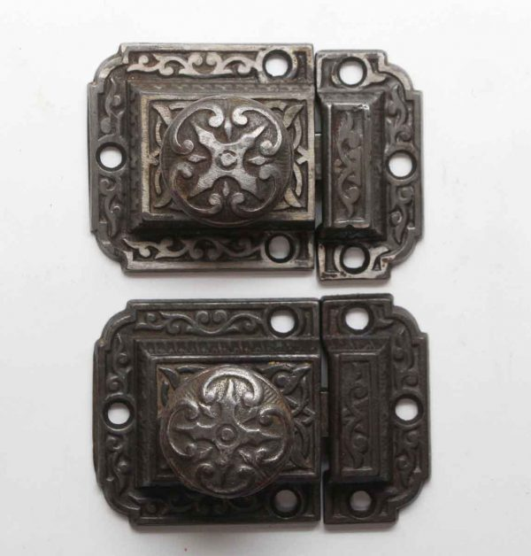 Cabinet & Furniture Latches - Antique Cast Iron Pair of Ornate Cabinet Latches