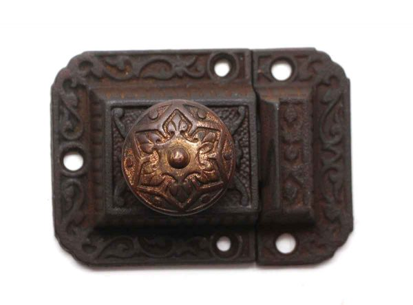 Cabinet & Furniture Latches - Antique Ornate Iron Cabinet Latch with Brass Button