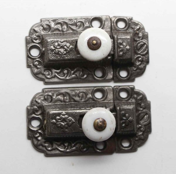 Cabinet & Furniture Latches - Pair of Antique Cast Iron Ornate Cabinet Latches