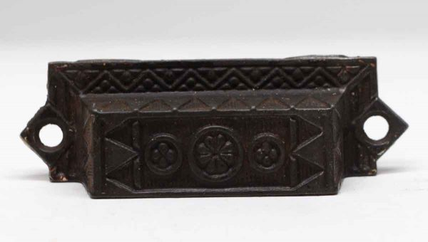 Cabinet & Furniture Pulls - 3.75 in. Aesthetic Floral Cast Iron Bin Pull