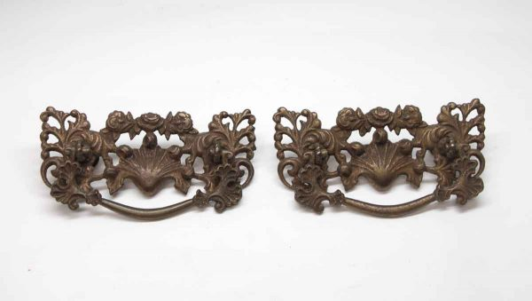Cabinet & Furniture Pulls - Pair of Cast Brass French Roses Pulls