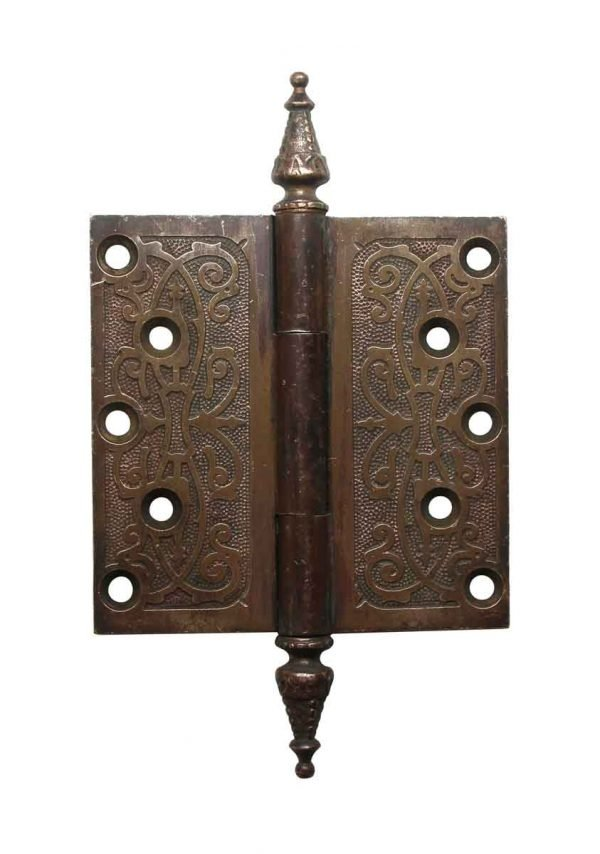 Door Hinges - 5 x 5 Victorian Brass Steeple Tip Butt Door Hinge