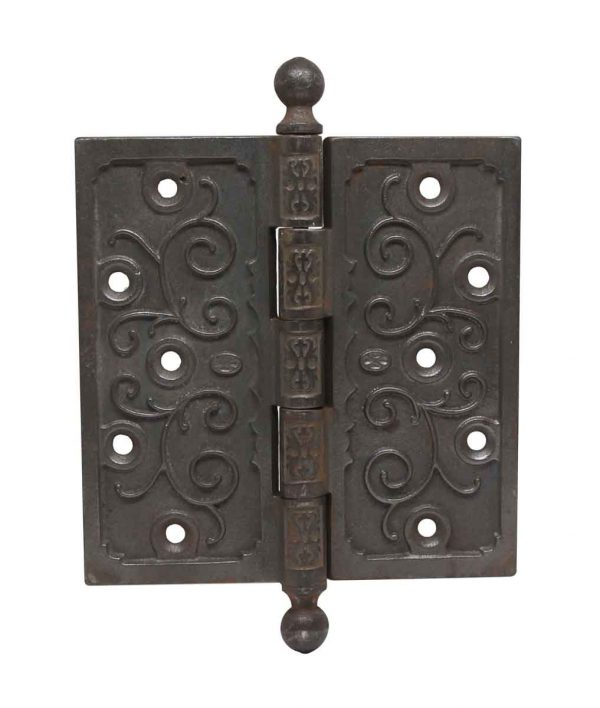 Door Hinges - Cast Iron Victorian 6 x 6 Ball Tip Butt Door Hinge