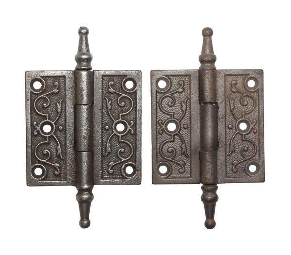 Door Hinges - Ornate Steeple Tip Iron 3 x 3 Butt Door Hinges