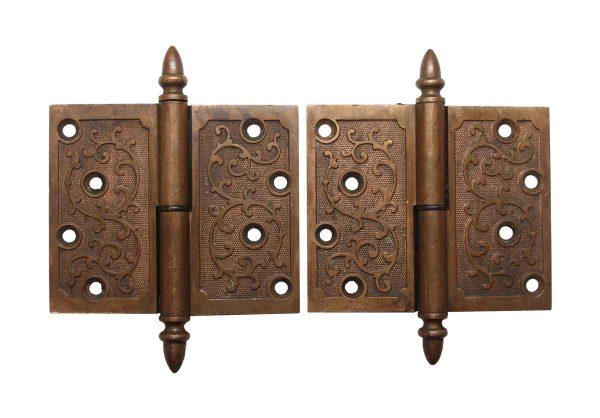 Door Hinges - Pair of 4.5 x 4.5 Right Hand Brass Butt Door Hinges