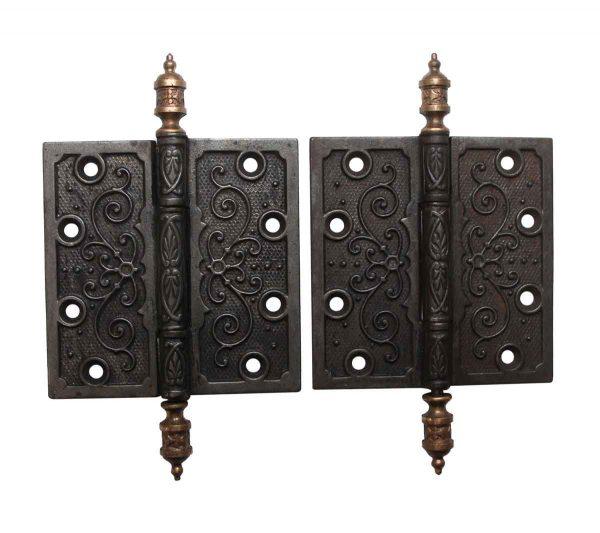 Door Hinges - Pair of Victorian 4.5 x 4.5 Cast Iron Butt Door Hinges