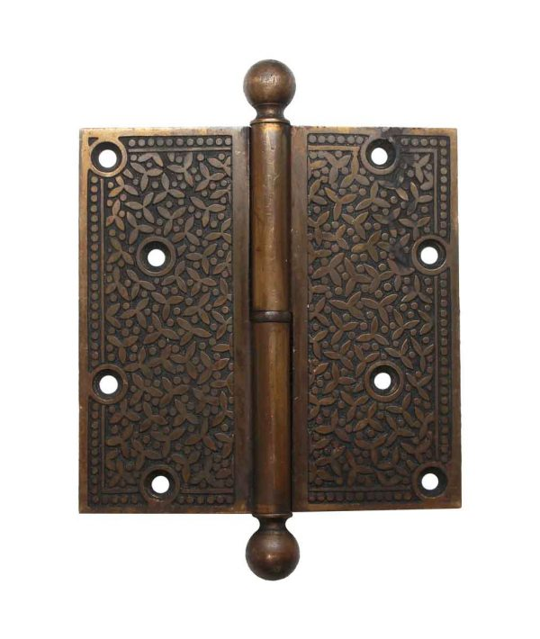 Door Hinges - Victorian Brass 5 x 5 Ball Tip Butt Door Hinge