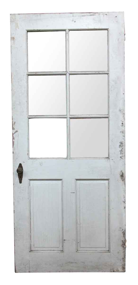 Entry Doors - 6 Glass Panel White Wood Antique Entry Door 82.375 x 36